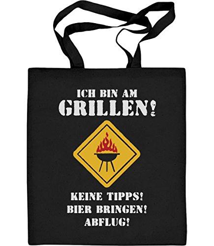 Shirtgeil Jutebeutel mit Spruch - Ich Bin Am Grillen Keine Tipps Bier Abflug Jutebeutel Baumwolltasche One Size Schwarz