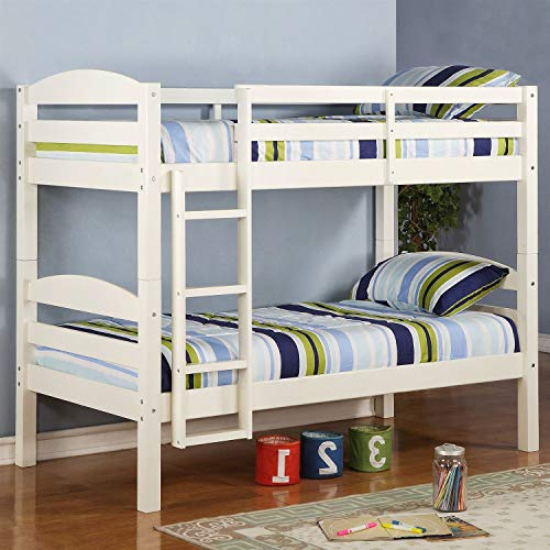 StarSun Depot White Wood Twin Over Twin Bunk Bed with Ladder and Guardrail