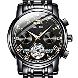 Self Winding Watches for Men,OLEVS Watch Men Swiss Automatic Tourbillon Watch Day/Date Skeleton Mechanical Men's Wrist Watches Black Stainless Steel Dive Classic Luxury Dress Wristwatch Man Watch