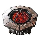 WSCQ Brasero Exterior para Jardín y Terraza, 4 en 1 Pozo de Fuego con Barbacoa y Protección contra Chispas Fire Pit para Jardín Estufas de Leña Terraza,31.8x14.5inch