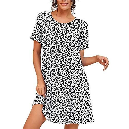 Damen Nachthemd Loose Fit Nachtwäsche Nachtkleid Kurz Baumwolle Schlafshirt O-Ausschnitt Rock Schlanke Nachtwäsche Sleepshirt Kurzarm für Sommer