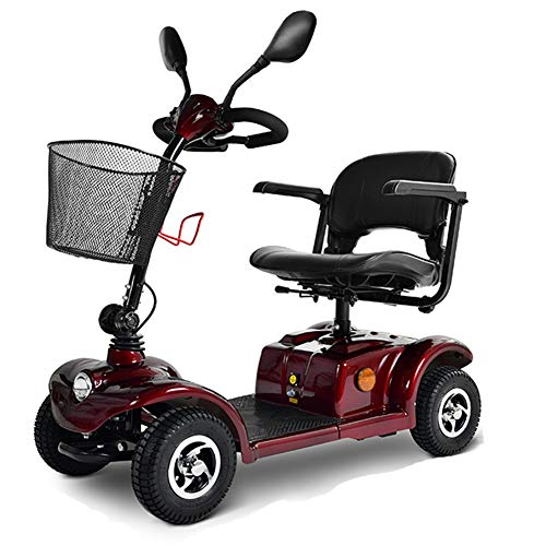 Krankenfahrstuhl Elektromobil Elektrisch 4 Räder Bis 25 Km,250w E Scooter Motor Mit Straßenzulassung,seniorenfahrzeug Seniorenmobil Elektrostuhl E-mobil Elektroroller,20ah Batterie,Red
