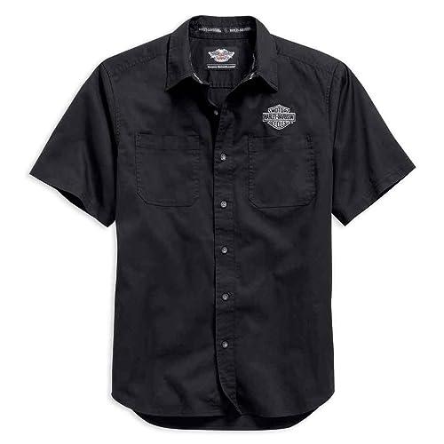 545d6b20 Harley-Davidson Men's Logo Short Sleeve Knit Woven Shirt, Black.