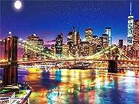 フルラウンドドリル5DDIYダイヤモンド絵画シティナイトシーニック3Dダイヤモンド刺繡クロスステッチ家の装飾ギフト 50X60cm