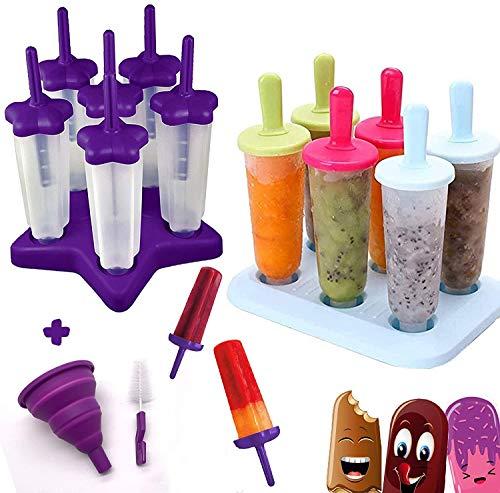 HelpCuisine Stampi ghiaccioli - Stampi per gelati realizzati in plastica (set da 2 Vassoi Viola e Multicolore)