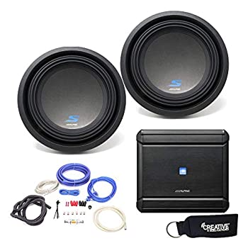 Alpine MRV-M500 Amplifier and Two S-W10D2 S-Series 10  Dual 2-Ohm Subwoofers - Includes Wire kit