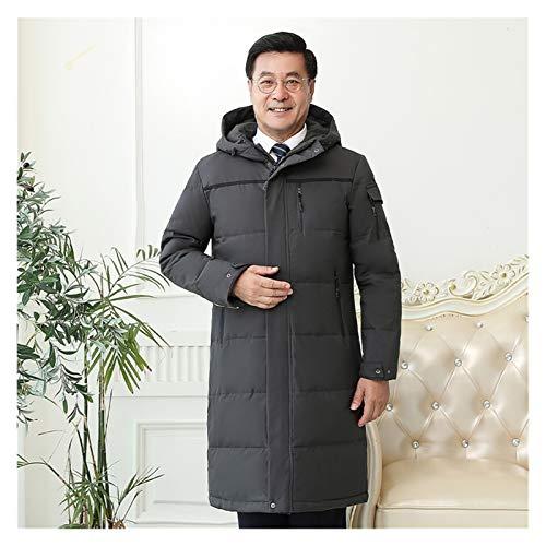 TBAO -30 Grad Männer mittleren Alters Winter Daunenmantel Für Vater Plus Size 4XL Lange Weiße Ente Daunenjacke Männer Kapuze Loose Down Männer (Color : Gray, Size : X-Large)