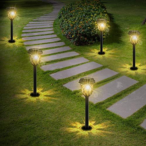 6 x Solarleuchten Garten Solar LED Solarlampen für Außen Wasserdicht Warmweiß Wegeleuchte Gartenleuchte Dekorative Licht für Garten Wege Ausfahrt Terrasse Teich