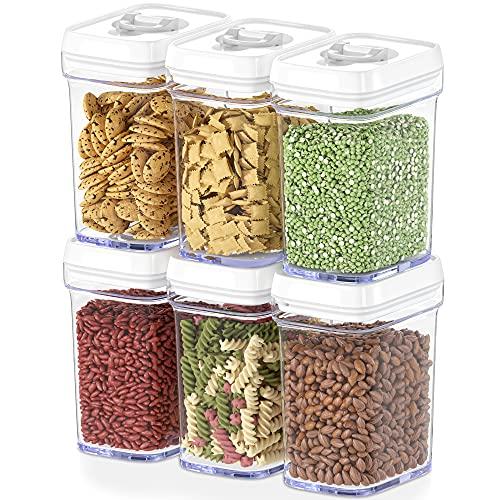 DWËLLZA KITCHEN Lot de 6 boîtes de conservation hermétiques avec couvercles hermétiques pour aliments - Taille moyenne - Plastique transparent sans BPA - Garde les aliments frais et secs