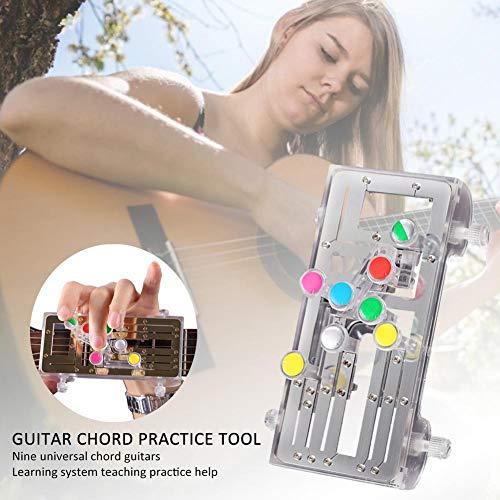Gitarrenakkord-Übungswerkzeug, Gitarren-Lernsystem-Übungsprogramm mit neun Universalakkorden für Anfänger, bequeme schmerzfeste Finger-Booster-Gitarre mit einer Taste