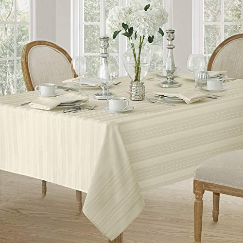 Satin Stripe Weave No-Iron Soil Resistant Fabric Tablecloth, 60 X 120 Oblong, Ivory