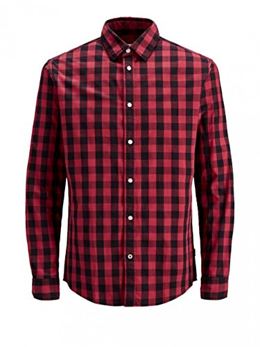 JACK & JONES Herren Hemd JJEGINGHAM Shirt L/S, Größe:S, Farbe:Brick Red Mixed Black