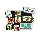 Nostalgic-Art Juego de Imanes Retro , Tiki Bar – Idea de Regalo para Aficionados a cócteles, Decoración para la Nevera, Diseño Vintage, 9 Unidades