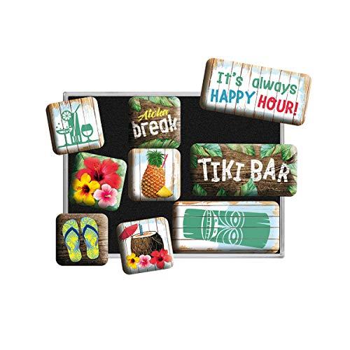 Nostalgic-Art - Set di 9 calamite per frigorifero in stile retrò Open Tiki Bar – Idea regalo per gli appassionati di cocktail – Set di magneti per lavagna magnetica, design vintage