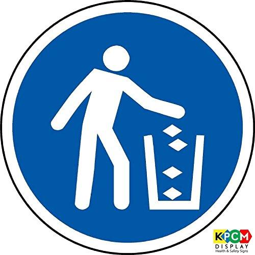 ISO Safety Label Sign - International Use afvalbakken Symbol - Zelfklevende sticker 50mm Diameter