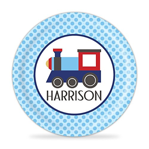 Train Plate - Blue Polka Dots Red Train Engine Melamine Personalized Name Gift