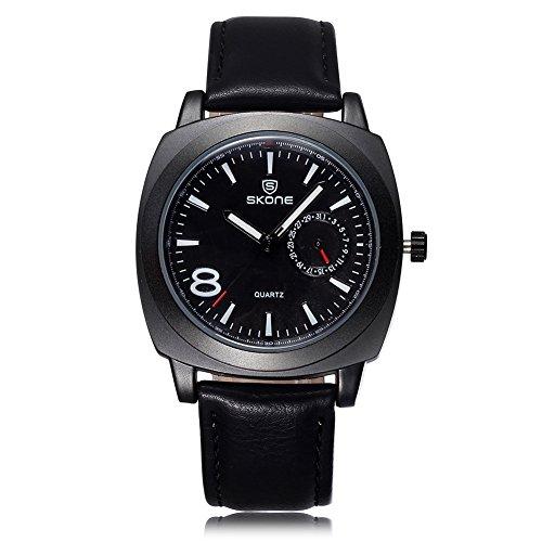 Skone 505901 Reloj analógico luminoso para hombre, calendario especial, correa de piel sintética, color negro