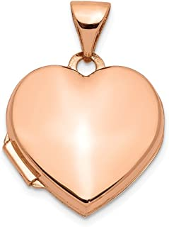 14k Rose Gold 15mm Heart Photo Pendant Charm Locket Chain Necklace That Holds Pictures Fine Jewelry For Women Gifts For Her
