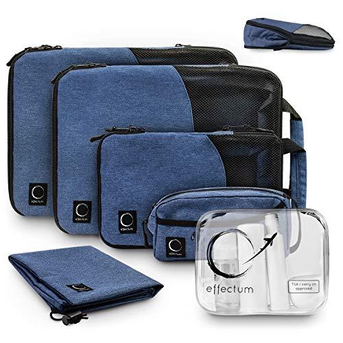 Packtaschen Set mit Kompression + Flugzeug Kosmetiktasche I 6-teiliges Koffer Organizer Set I Robust und Langlebig I Packwürfel I Packing Cubes für Rucksack-Reisen/Backpacking von effectum