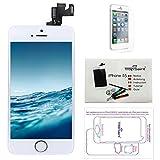 Trop Saint® Display Weiß kompatibel mit iPhone 5S Ersatz Bildschirm Reparaturset Kompatibel iPhone mit Magnetische Schraubenkarte, Werkzeug, Anleitung und Bildschirmschutzfolie