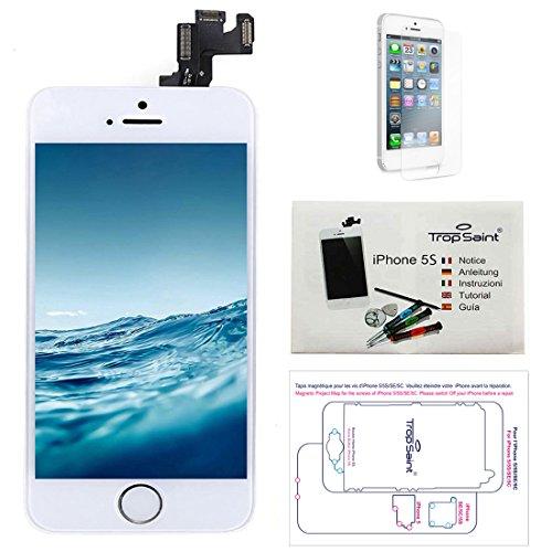 Trop Saint Display vit kompatibel med iPhone 5S ersättningsskärm komplett reparationssats kompatibel med iPhone med magnetiskt skruvkort, verktyg, instruktioner och skärmskydd
