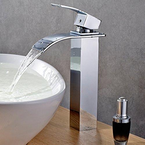 BONADE Einhebelmischer Wasserfall Wasserhahn Bad Armatur Mischbatterie Hoch für Waschbecken Badarmatur Chrom, Geeignet für Aufsatzwaschbecken