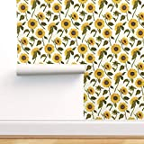 Spoonflower Peel and Stick Removable Wallpaper, Sunflowers Cottage Chic Yellow Green Brown Floral Print, Self-Adhesive Wallpaper 12in x 24in Test Swatch