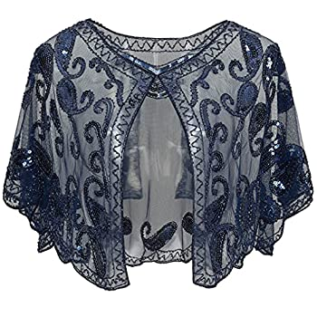 BABEYOND 1920s Shawl Wraps Sequin Beaded Evening Cape Bridal Shawl Bolero Flapper Cover Up  Blue