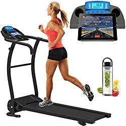 ✔ Bluetooth Connectivity (FREE app download required) - Connects iPhone, iPad & Android ✔ Log training activity indoor & Outdoor while Running preset google maps ✔ Adjustable Incline (3 levels) ✔SmartPhone App Control ✔ Smart phone / tablet stand ✔ F...