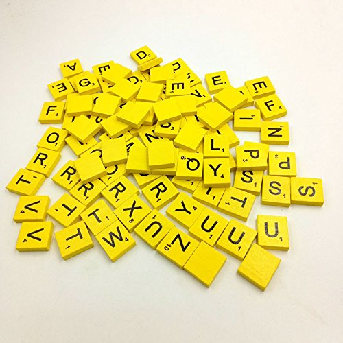 Fineday 100 Wooden Scrabble Tiles Black Letters Numbers for Crafts Wood Alphabets YE, Toys and Hobbies (Yellow)