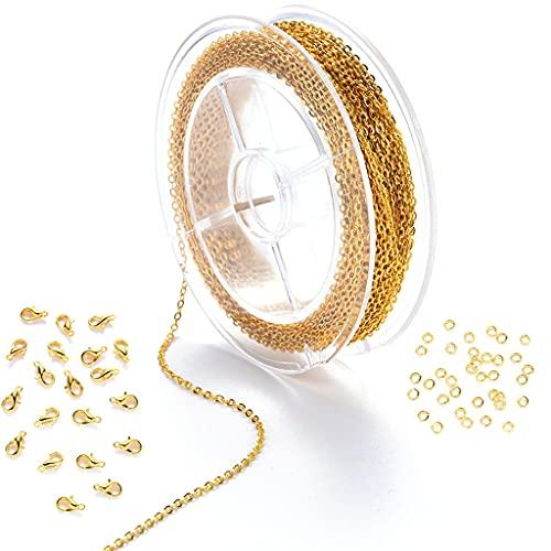 bibididi Conjunto de Accesorios de joyería Anillo Abierto Anillo de Salto Cierre de Langosta para Mujeres Hombres Cadena de joyería Fabricación de Bricolaje - Oro