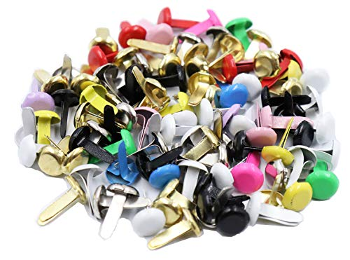 Floranea 100 Pcs Mini Brads Multi Color Small Round Metal Paper Brass Paper Fasteners Pastel Brads for Art Crafting School Project Decorative Scrapbooking DIY Supplies (Round)