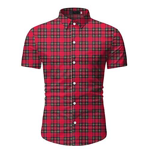 Kuingbhn Camisas de Manga Corta para Hombre Casual a Cuadros de Manga Corta los Hombres de Gran tamaño de sección Ligera Camisa Impresa de dimensión Europea Camisa Informal Formal de Corte Slim