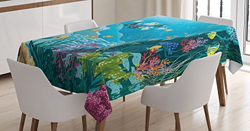 Ambesonne Fish Tablecloth, Underwater Landscape with Tropical Fish and Algae Polyps Descriptive Nautical Image, Rectangular Table Cover for Dining Room Kitchen Decor, 60