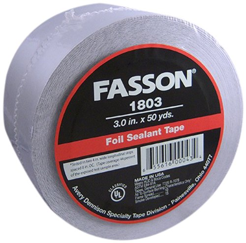 Avery Dennison Fasson 0802 Aluminum Foil HVAC Duct Tape, UL 723, Silver, 150 ft x 2.5 in