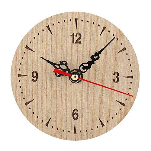 Reloj analógico de pared de escritorio de mesa de madera redonda vintage para sala de estar, dormitorio, oficina, reloj de pared, fácil de leer (diámetro12cm)