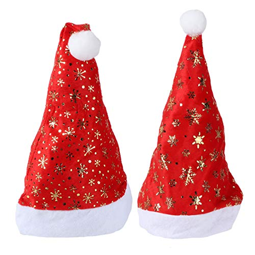 PRETYZOOM 2 Stück Weihnachtsplüsch Weihnachtsmütze Glitzer Schneeflocke Rot Und Weiß Elfenmütze Kostümzubehör mit Pom Pom Ball für Weihnachten Neujahrsfeiertag