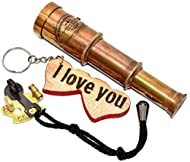 Fully functional Telescope Handmade Burning Engraved Wooden Keychain Beautiful Brass Antique Finish, Unique Home or Office Decor Item Great addition to your maritime or pirate collection Telescope - 6 inch/ Brass Sextant with Rope - 21 cm /Keychain -...