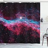 ABAKUHAUS Rosa Duschvorhang, Weltraum Spielt Galaxy, Hochwertig mit 12 Haken Set Leicht zu pflegen Farbfest Wasser Bakterie Resistent, 175 x 200 cm, Schwarz & Magenta