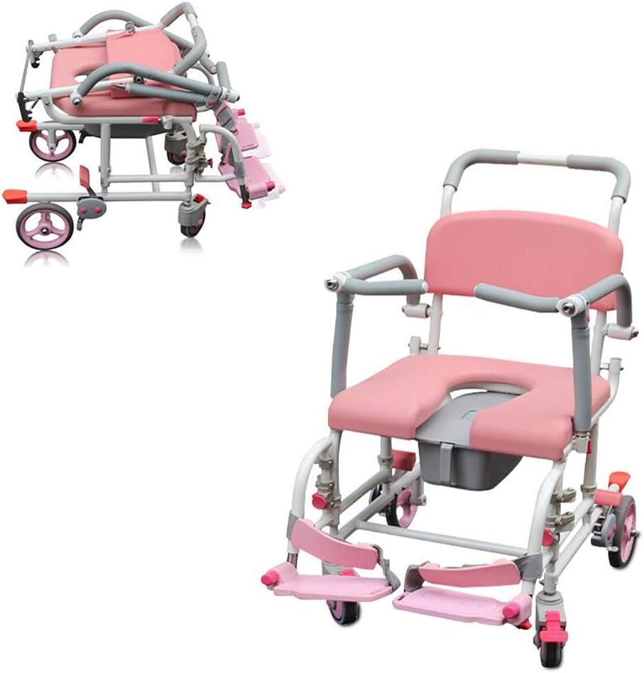 GAOXIAOMEI Commode Chairs Silla de baño con Ruedas, Silla de baño Acolchada para Personas Mayores discapacitadas,Inodoro para Uso en el baño Junto a la Cama (Rosado)