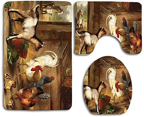 Baby Goats in A Barn and Chickens Style Design Bathroom 3 Pieces Set (1 Bath Rug, 1 Contour Mat, 1 Lid Cover) with Non-Slip Rubber Backing
