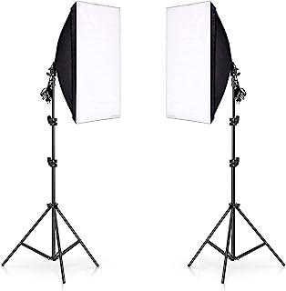 eWINNER Photography Rectangle Continuous SoftBox Lighting Kit 2set 50x70cm Softbox & 2set Light Holder Stand Photo Studio ...