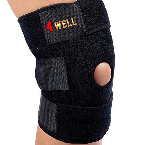 4well Knee Patella Support Brace for Men Women - Best Open Patella Knee Stabilizer for Walking Injury Recovery Running Sport ACL | Non Slip Comfortable Adjustable Knee Brace Neoprene FDA Approved