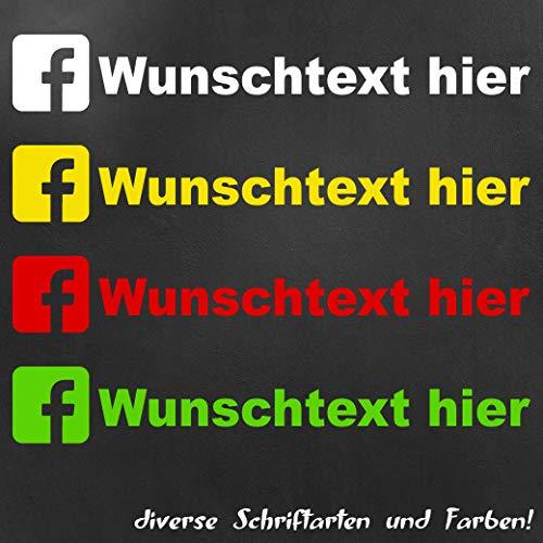 Facebook Aufkleber mit Wunschtext - Länge: 14cm