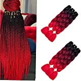 6 Packs ombre Flechten Haarverlängerungen Colorful Kunsthaar Heat Resistant Haar für Heimwerker Crochet Box Zöpfe (Ombre Bug Red) 3 Tone Color Ombré-braun 100 g/pcs 24inch