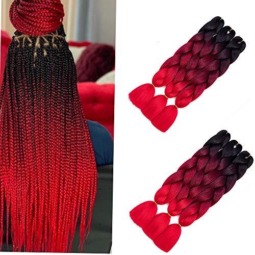 "6pc Jumbo Braiding Hair Extensions High Temperature Kanekalon Synthetic Ombre Twist Hair Multiple Tone Colored Jumbo Braiding Hair (6pcs24"", Black-Wine-Red)"