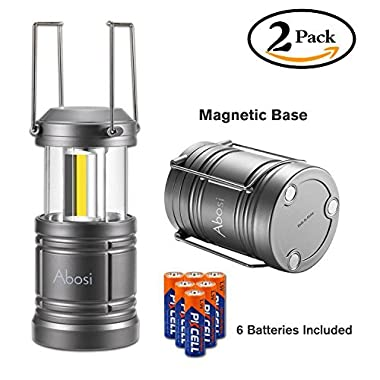 2 Pack Camping Lantern,Lantern Flashlights with 6 AA Batteries,Abosi Magnetic Base LED Lanterns, NEW COB LED Technology Emits 500 Lumens, Collapsible, Waterproof LED Lantern with Detachable Handles