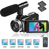 Videocamera Full HD 1080P Videocámara Cámara de Vlogging de 24.0MP Videocámara Digital con Temporizador Automático con Control Remoto y Micrófono