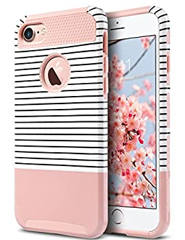 ULAK iPhone 7 Case Stylish Design Slim Fit Hybrid Dual Layer Protective Hard Back Cover Shock Absorption TPU Bumper Girly Phone Case for Apple iPhone 7 4.7 inch Rose Gold/Black Stripe