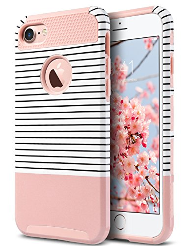 ULAK iPhone 7 Case, Stylish Design Slim Fit Hybrid Dual Layer Protective Hard Back Cover Shock Absorption TPU Bumper Girly Phone Case for Apple iPhone 7 4.7 inch, Rose Gold/Black Stripe